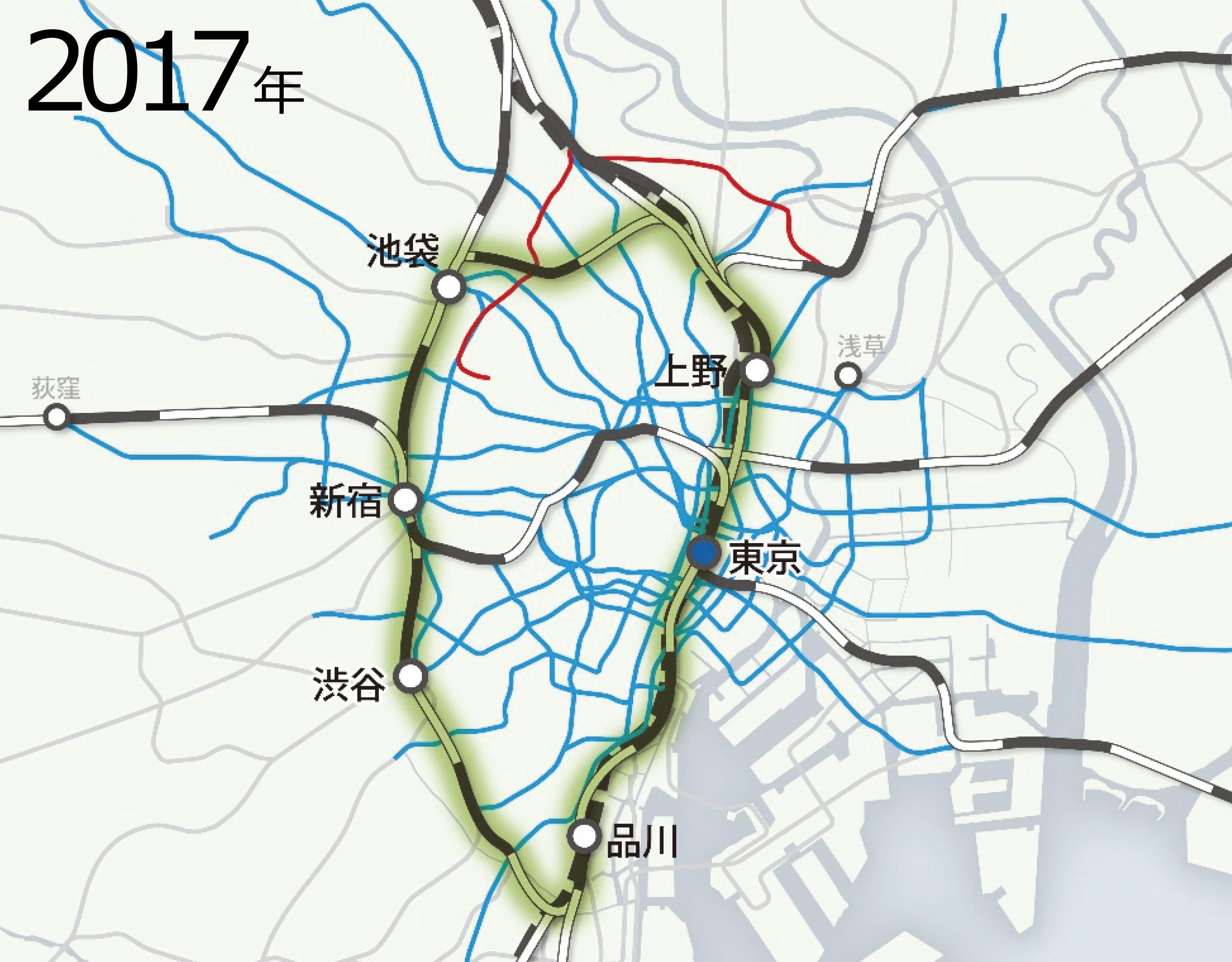 図1-1  都心部の公共交通の変遷(日建設計作成)