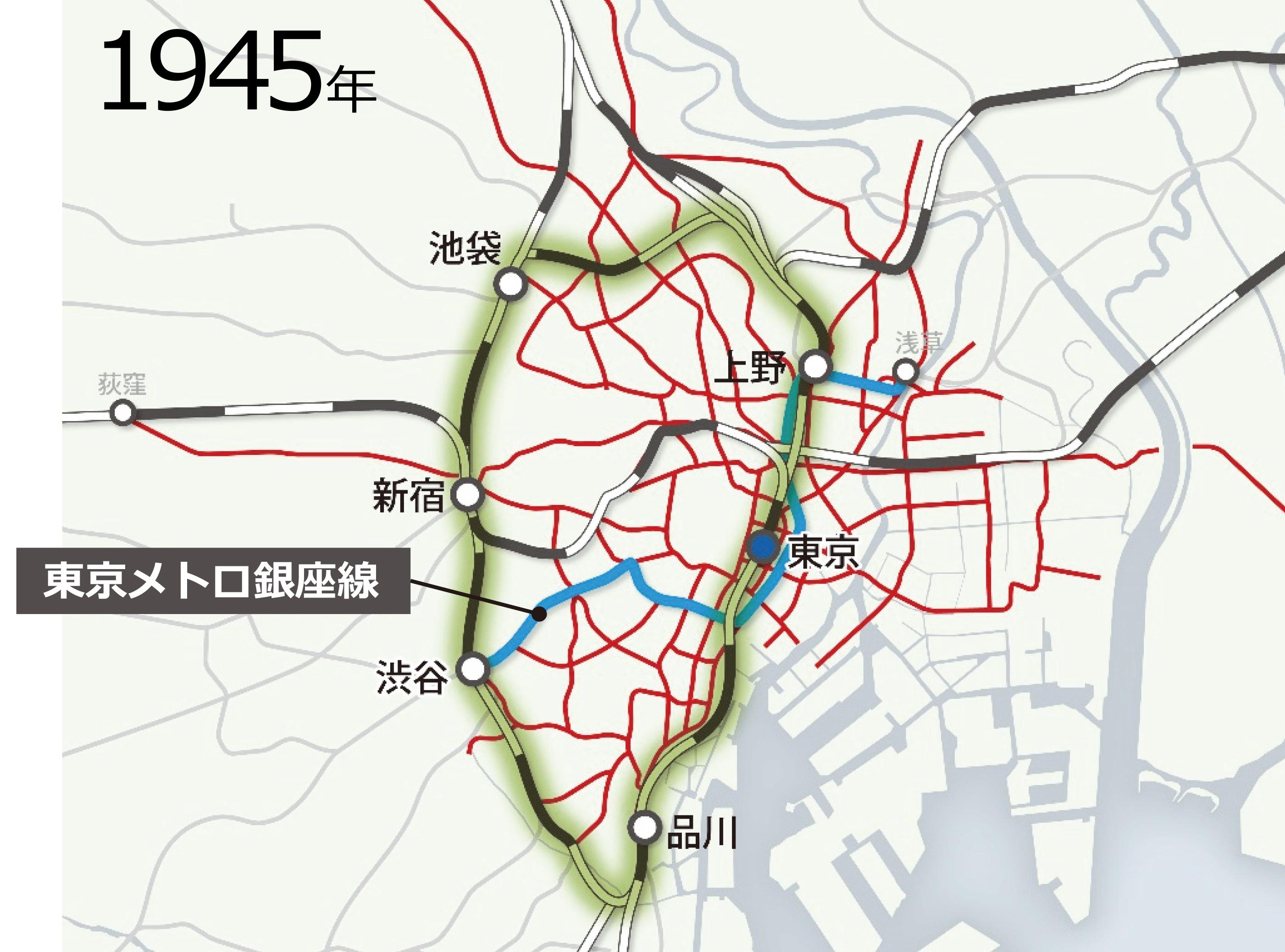 図1-2  都心部の公共交通の変遷(日建設計作成)